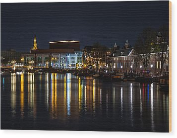 Night Lights On The Amsterdam Canals 6. Holland Wood Print by Jenny Rainbow