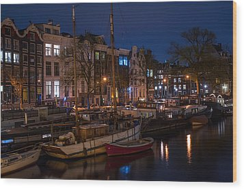 Night Lights On The Amsterdam Canals 7. Holland Wood Print by Jenny Rainbow