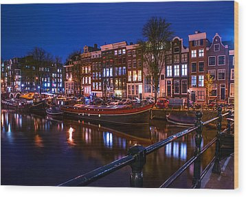 Night Lights On The Amsterdam Canals. Holland Wood Print by Jenny Rainbow