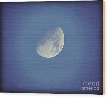 Night Moon Rising Wood Print by Leslie Hunziker