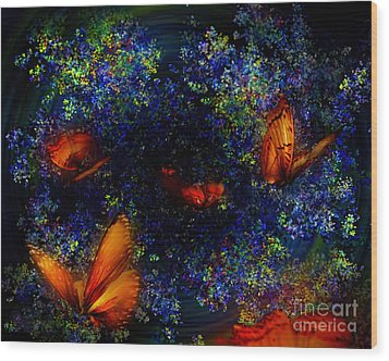 Wood Print featuring the digital art Night Of The Butterflies by Olga Hamilton