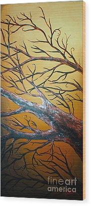 Night Of The Eclipse Panel 3 Wood Print by Teshia Art