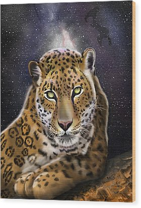 Wood Print featuring the painting Fourth Of The Big Cat Series - Leopard by Thomas J Herring