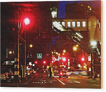 Night On West 125 Street Wood Print by Sarah Loft