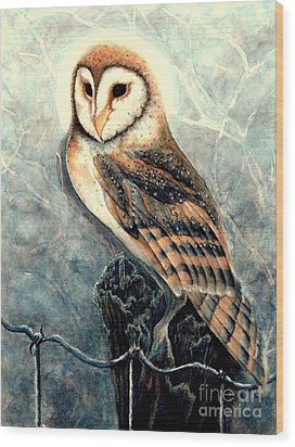 Night Owl Wood Print by Janine Riley