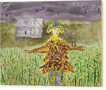 Night Owl Scarecrow Wood Print