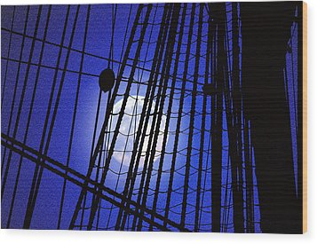 Wood Print featuring the photograph Night Rigging by Mike Flynn