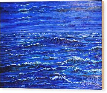 Night Sea Wood Print by Arthur Robins