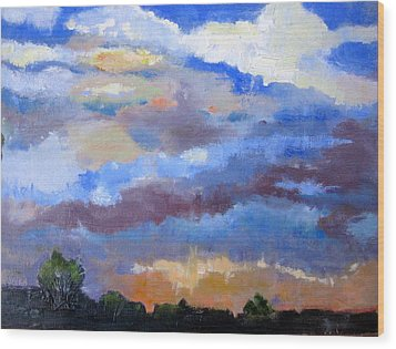 Wood Print featuring the painting Night Sky by MaryAnne Ardito