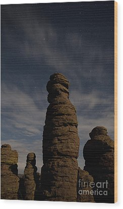 Wood Print featuring the photograph Night Sky Over Chiricahua by Keith Kapple