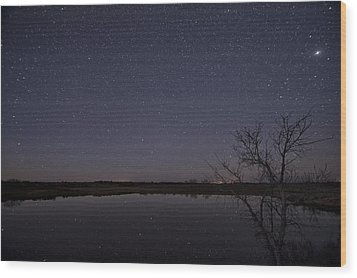 Night Sky Reflection Wood Print
