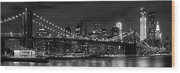Night-skyline New York City Bw Wood Print by Melanie Viola