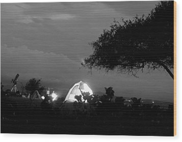 Night Time Camp Site Wood Print by Kantilal Patel