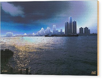 Night Time On The Detroit River Wood Print