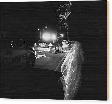 Night Traffic Stop Three Wood Print by Bob Orsillo