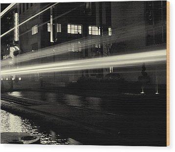 Night Train Black And White Wood Print by Joshua House