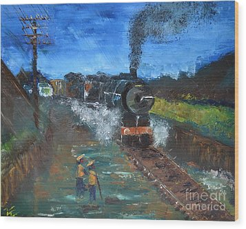 Wood Print featuring the painting Night Train by Denise Tomasura