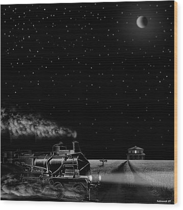 Night Train Wood Print by Larry Butterworth