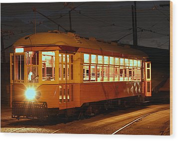 Wood Print featuring the photograph Night Trolley by Jim Poulos