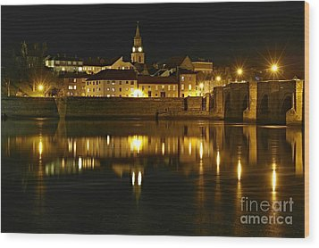 Night View Of The River Tweed At Berwick Wood Print