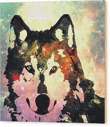 Night Wolf Wood Print by Anastasiya Malakhova