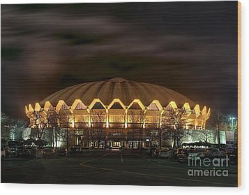 night WVU basketball Coliseum arena in Wood Print