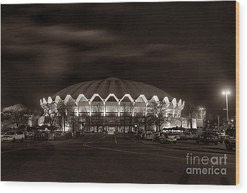 night WVU Coliseum basketball arena Wood Print