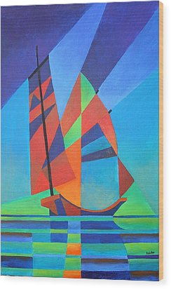 Wood Print featuring the painting Nightboat by Tracey Harrington-Simpson