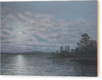 Nightfall - Moonrise On The Waterfront Wood Print by Kathleen McDermott