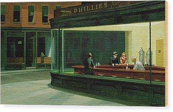 Wood Print featuring the  Nighthawks by Edward Hopper