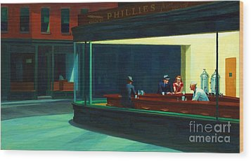 Nighthawks Wood Print by Pg Reproductions
