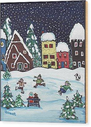 Nightime Skaters Wood Print by Joyce Gebauer
