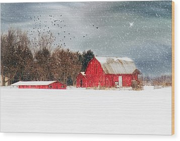 Night's Snow Dust Wood Print by Mary Timman