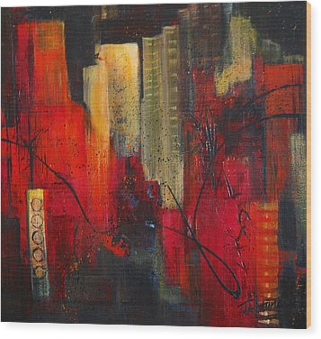 Nightscape Wood Print by Roberta Rotunda