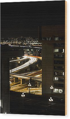 Nighttime Commute  Wood Print by Andrew Pacheco