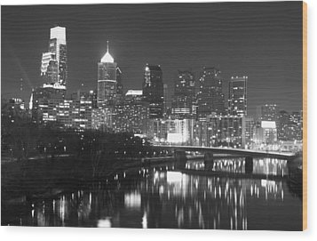 Wood Print featuring the photograph Nighttime In Philadelphia by Alice Gipson