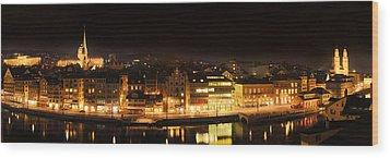 Nighttime In Zurich Wood Print by Marc Huebner