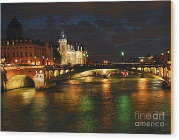 Nighttime Paris Wood Print by Elena Elisseeva