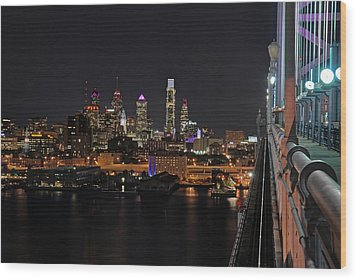 Nighttime Philly From The Ben Franklin Wood Print by Jennifer Ancker