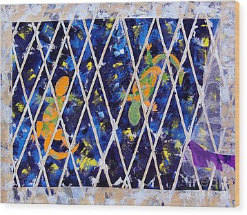 Nighttime View From The Kitchen Window Wood Print by Paula Drysdale Frazell