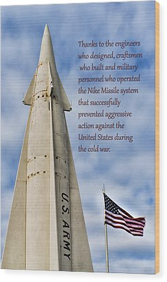 Nike Missile Thanks Wood Print by Gary Slawsky