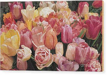 Wood Print featuring the painting Nikki's Tulips by Tim Gilliland