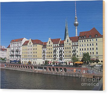 Wood Print featuring the photograph Nikolaiviertel And Alexanderturm by Art Photography