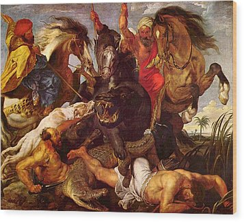 Nilpferdjagd Wood Print by Peter Paul Rubens