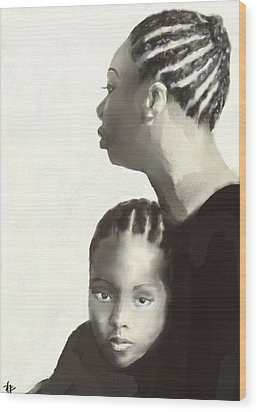 Wood Print featuring the drawing Nina And Lisa Simone by Vannetta Ferguson