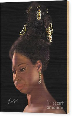 Nina Simone Wood Print by Reggie Duffie