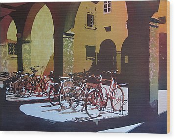 Nine Bicycles Wood Print