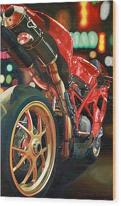 Nine Foot Ducati Wood Print by Guenevere Schwien