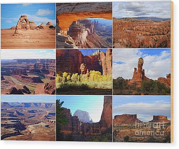 Nine Utah Landmarks Wood Print by Catherine Sherman