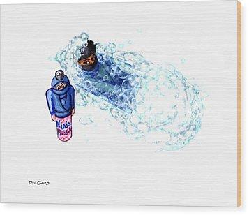 Ninja Stealth Disappears Into Bubble Bath Wood Print by Del Gaizo